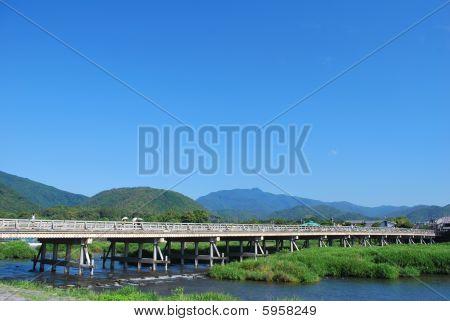 Huge, Long Bridge Across A Fast-flowing River