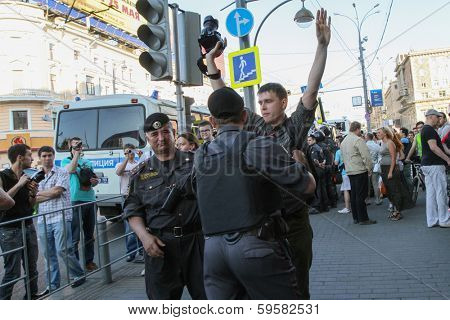 MOSCOW - MAY 31, 2011: During a prohibited rally to support the 31st article of the Russian Constitution that gives the right to peaceful assemblies.
