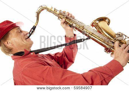 Man Playing Tenor Saxophone Enthousiastically