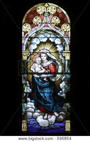 Stained Glass - Mary Holding Jesus