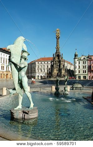 The Arion Fountain at Upper Square in Olomouc, Czech Republic