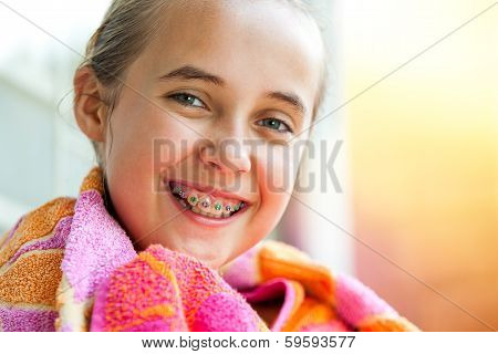 Cute Girl With Dental Braces.