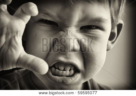 A little boy in anger