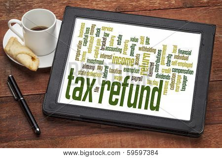 tax refund word cloud on a digital tablet with a cup of coffee