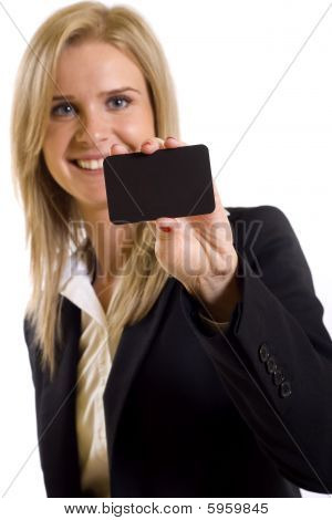 Businesswoman Presenting Her Business Card
