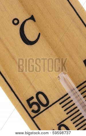 Oblique Close Up Of Thermometer In Celcius Scale