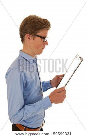 Man In Shirt Holding Clipboard