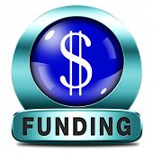 funding icon fund raising for charity money donation for non profit organization blue button