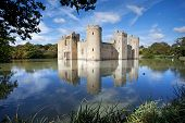 stock photo of medieval  - Built in 1385 Bodiam Castle in East Sussex is a perfect example of a late medieval moated castle.