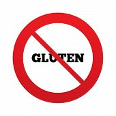 image of flat-bread  - No Gluten free sign icon - JPG