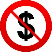 stock photo of ban  - No Dollars sign icon - JPG