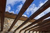 foto of pergola  - Wooden pergola bult in a rural farm in the tuscany countryside - JPG