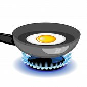 foto of yolk  - Vector fried egg on a frying pan - JPG