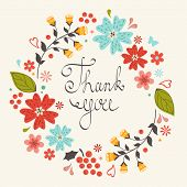 image of thankful  - Beautiful thank you card with floral wreath - JPG