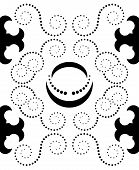 stock photo of crescent-shaped  - Shapes in black color as seamless pattern spirals made by dots crescents and stylized crosses - JPG