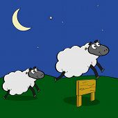 image of counting sheep  - Cartoon illustration showing sheep jumping over a wooden fence at night - JPG