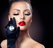 foto of diamond  - Beauty Fashion Glamour Girl Portrait over black background - JPG