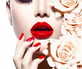 stock photo of manicure  - Fashion Sexy Woman with flowers - JPG