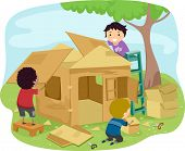 image of playmate  - Illustration of Little Boys Building a Playhouse Made of Carton - JPG