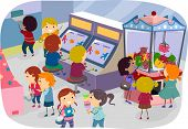 foto of arcade  - Illustration of Kids Enjoying a Day at the Arcade - JPG