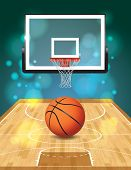 picture of ncaa  - An illustration of a basketball court ball and hoop - JPG