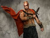 image of legion  - Wounded gladiator with  sword covered in blood isolated on grey - JPG