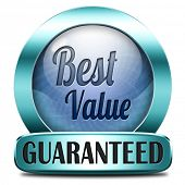 best value for the money web shop icon or online blue promotion button, sticker or sign for internet