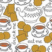 "stock photo of eat me  - ""eat me drink me"" tea and cookies sweet seamless pattern on white - JPG"