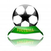 Soccer Ball On Green Pedestal With The Inscription Football