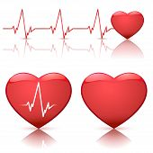 stock photo of dead-line  - Illustration of different types of hearts with heart beat isolated on white background - JPG