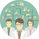 image of chemical reaction  - Flat conceptual illustration of scientists in the chemical laboratory - JPG
