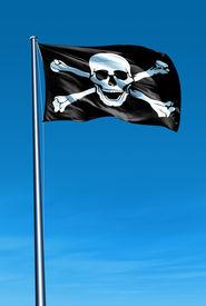 image of skull crossbones flag  - Pirate skull and crossbones flag waving on the wind - JPG