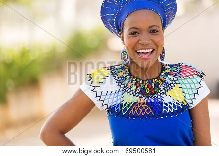 happy young african zulu woman laughing