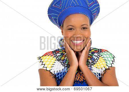 cute african zulu woman closeup portrait on white