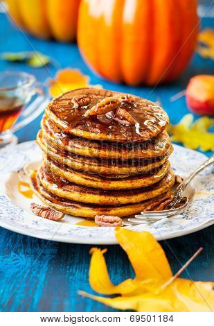 Spiced Pumpkin pancakes with maple syrup and pecan