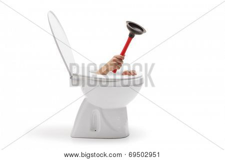 Hand with a rubber suction cup coming out from toilet bowl isolated on white background