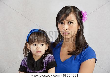 Disappointed Mother With Child