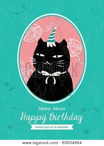 Cat Animal Cartoon Birthday Card Design