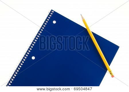 Blue Spiral Notebook And Pencil