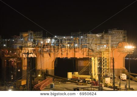Oil Rig In Dry Dock