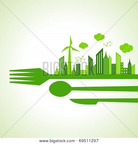 Eco city-escape on restaurant cutlaries stock vector