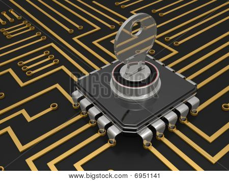 The Computer Chip With The Lock And A Key