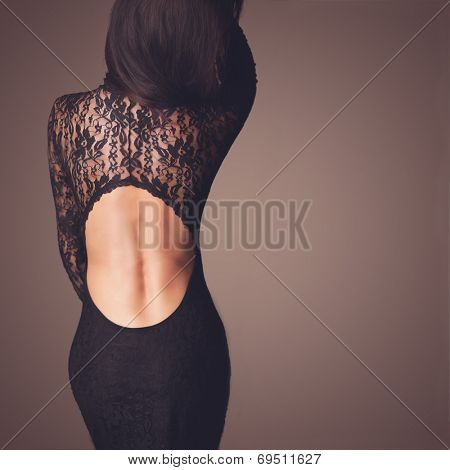 Fashion photo of beautiful lady dressed in evening black lace dress