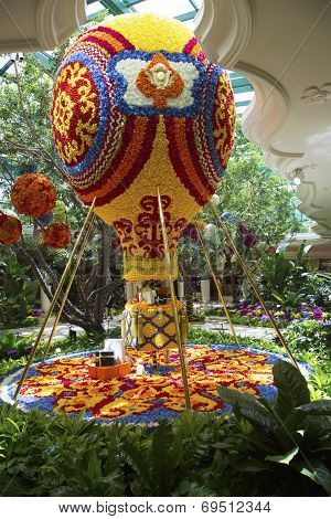 Floral hot air balloon in the atrium of Wynn Hotel and Casino in Las Vegas