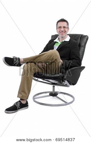 Cool Middle Aged Man Relaxing