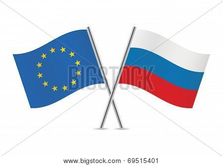 Russian and European Union flags.