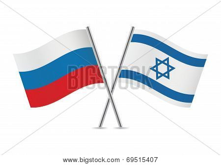 Russian and Israeli flags.