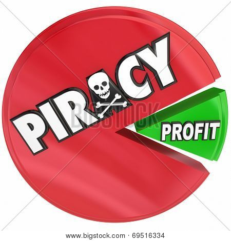 Piracy word on a pie chart eating profits by stealing files in illegal internet torrent site activity