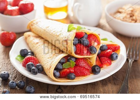 pancakes with strawberry blueberry for breakfast