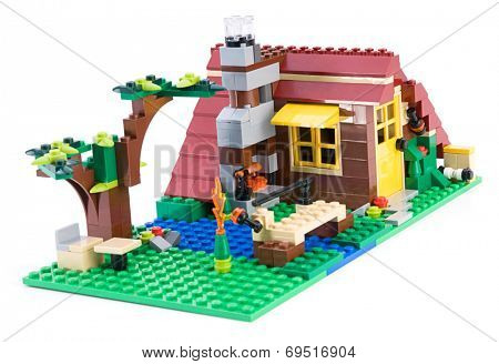 Ankara, Turkey - July 04, 2012: Lego Creator - House is a 3 in 1 countryside houses isolated on white background